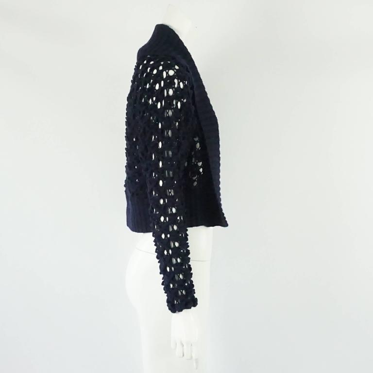 Oscar de la Renta Navy Crochet Cashmere Cardigan - XS 2
