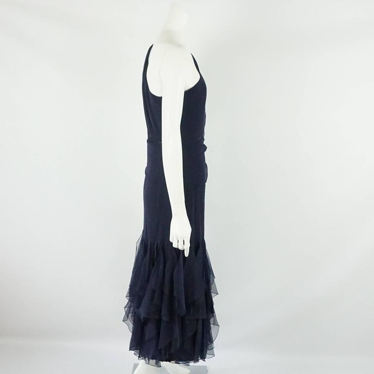 Valentino Boutique Navy Silk Chiffon One Shoulder Gown - 12 - 90's This gown has a mid section that is sheer and the bottom has teardrop silk chiffon vertical ruffles. This is a timeless piece and is in excellent vintage