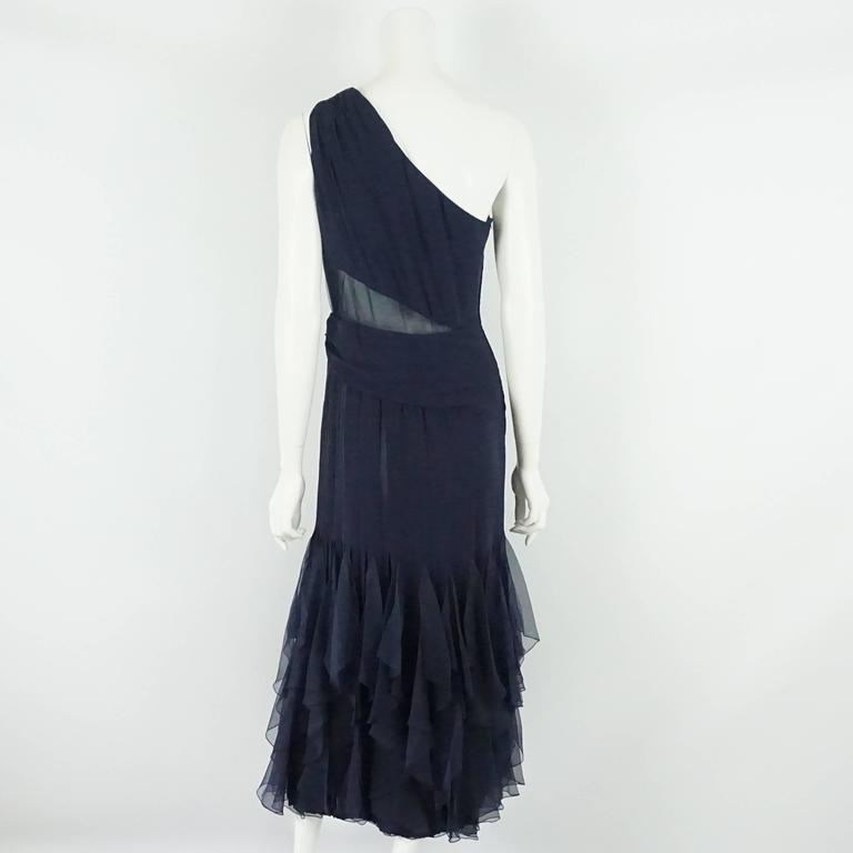 Black Valentino Boutique Navy Silk Chiffon One Shoulder Gown, 1990s  For Sale