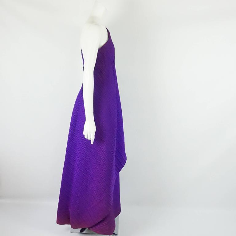 Arnold Scaasi Purple One Shoulder Textured Gown - 8 - 60's 2