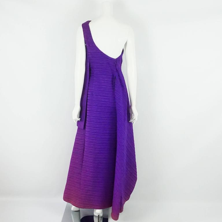 Arnold Scaasi Purple One Shoulder Textured Gown - 8 - 60's 3