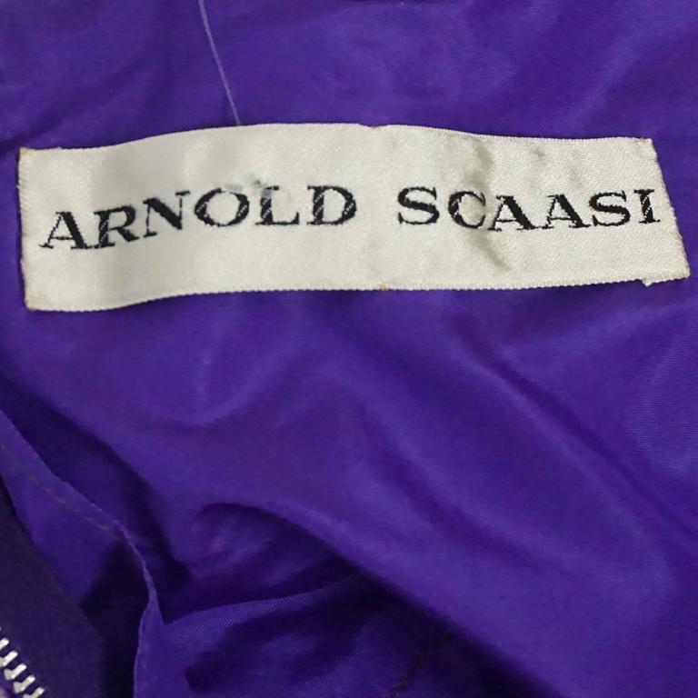 Arnold Scaasi Purple One Shoulder Textured Gown - 8 - 60's 4