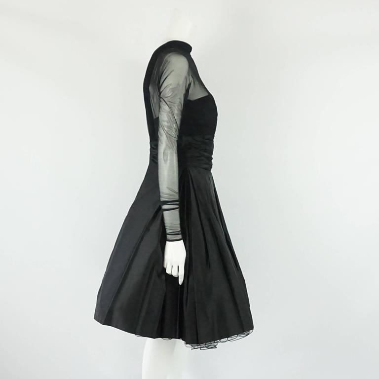 Vicky Tiel Couture Black Mesh and Acetate Evening Dress - 42 - Circa 80's 2