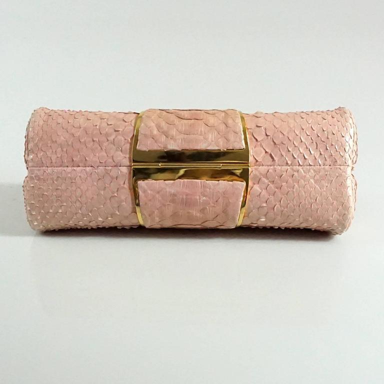 Judith Leiber Pink Snakeskin Handbag-GHW 3