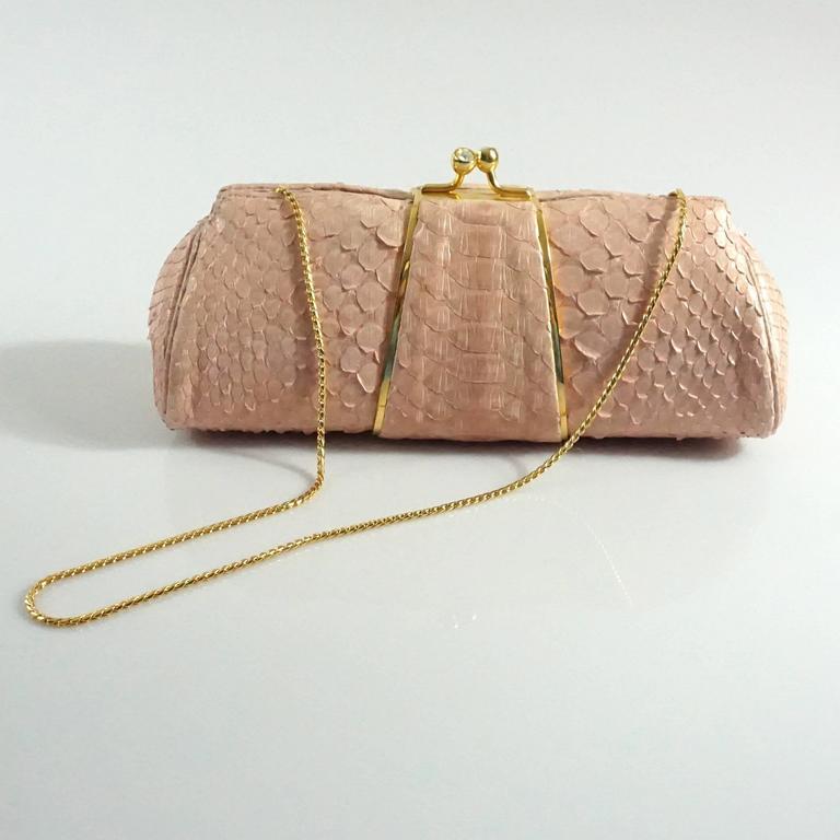 Judith Leiber Pink Snakeskin Handbag-GHW 4