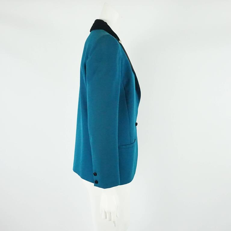 Valentino Turquoise lightweight wool tuxedo style jacket-8-Circa 80's  This very unique vintage Valentino jacket has a beautiful turquoise color, with a black silk faille and velvet lapel and collar with gold/silver and rhinestone ornament on each