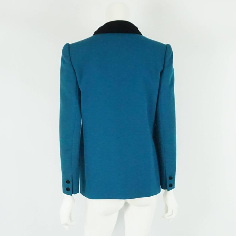 Blue Valentino Turquoise lightweight wool tuxedo style jacket-8-Circa 80's For Sale