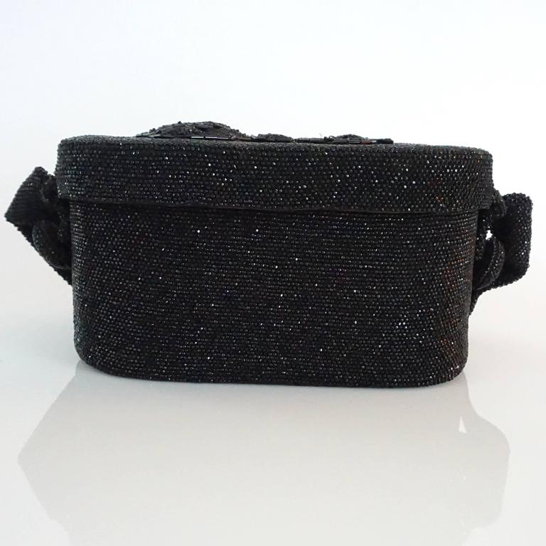 Women's Vintage Black Beaded Shoulder Bag with Floral Detail - circa 1950's  For Sale
