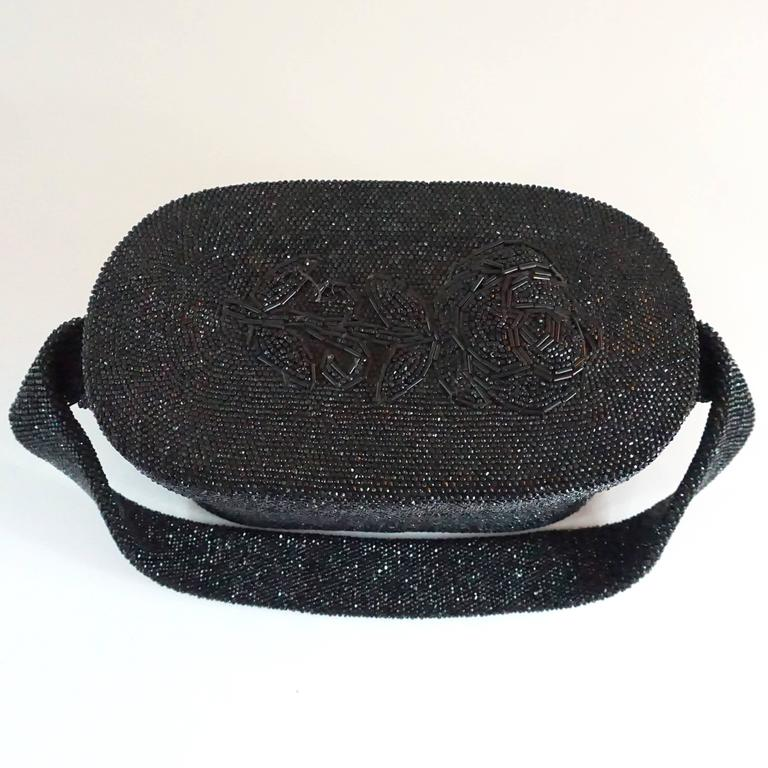 Vintage Black Beaded Shoulder Bag with Floral Detail - circa 1950's  For Sale 2
