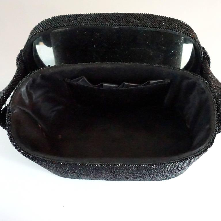 Vintage Black Beaded Shoulder Bag with Floral Detail - circa 1950's  For Sale 3