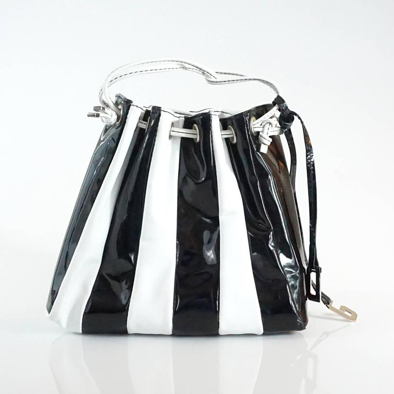 Dolce & Gabbana Black Patent & White Leather Drawstring Bag  In Good Condition For Sale In Palm Beach, FL