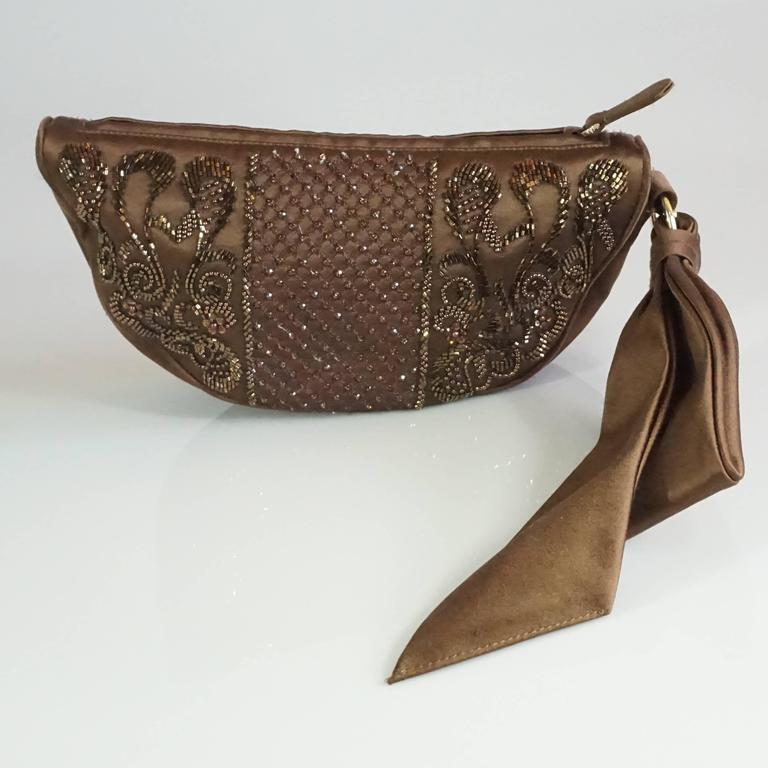 Sergio Rossi Brown Satin Beaded Clutch with Ribbon Detail  3