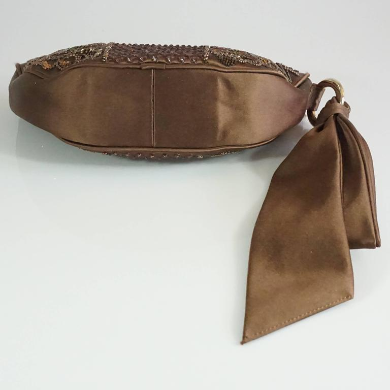 Sergio Rossi Brown Satin Beaded Clutch with Ribbon Detail  4
