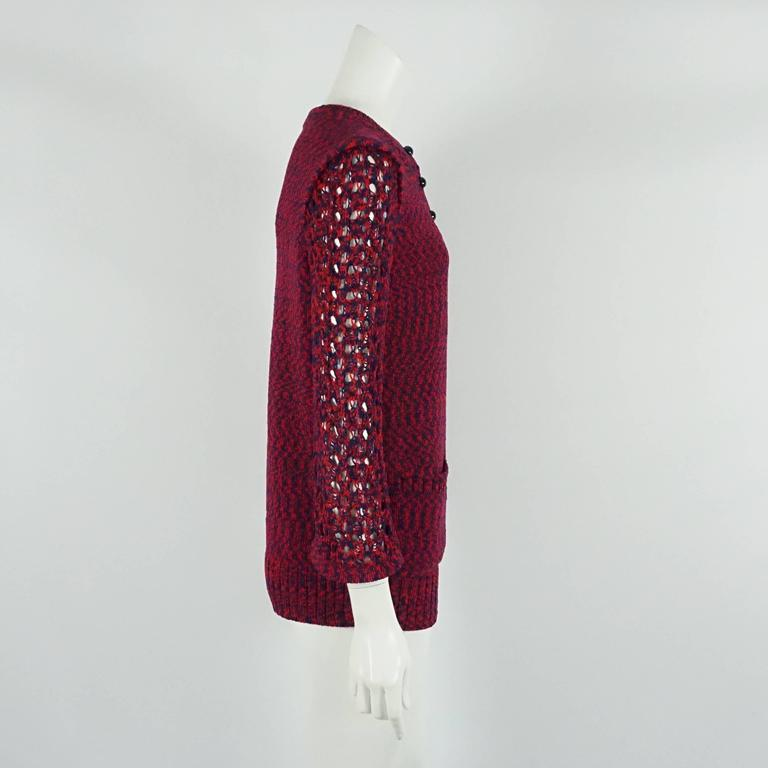 Chanel Blue and Red Cotton Knit Crochet Sweater - 40 2