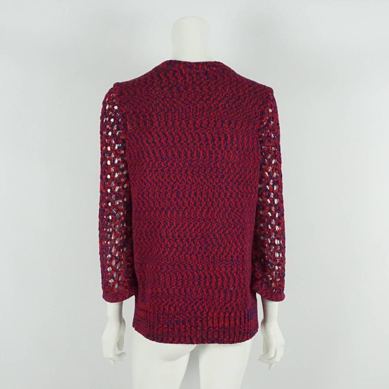 Chanel Blue and Red Cotton Knit Crochet Sweater - 40 In Excellent Condition For Sale In Palm Beach, FL