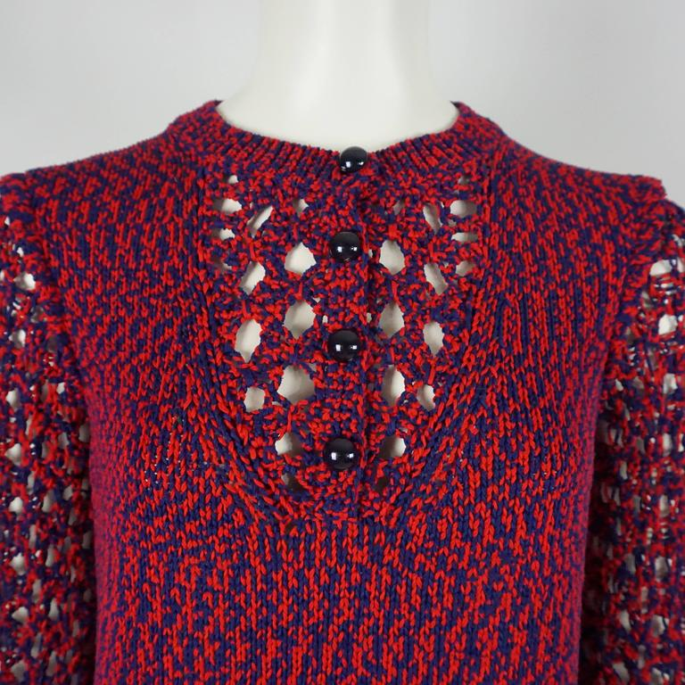 Women's Chanel Blue and Red Cotton Knit Crochet Sweater - 40 For Sale