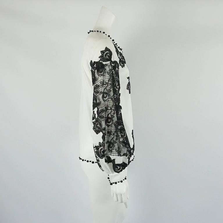 Oscar de la Renta White Cotton Peasant Top with Black Lace Detail - 2 2