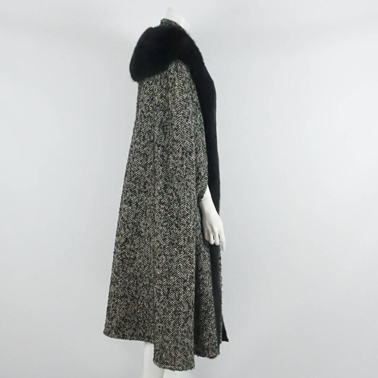 Bob Mackie Grey & White Herringbone Wool Tweed Cape w/ Black Fox Trim-10 2
