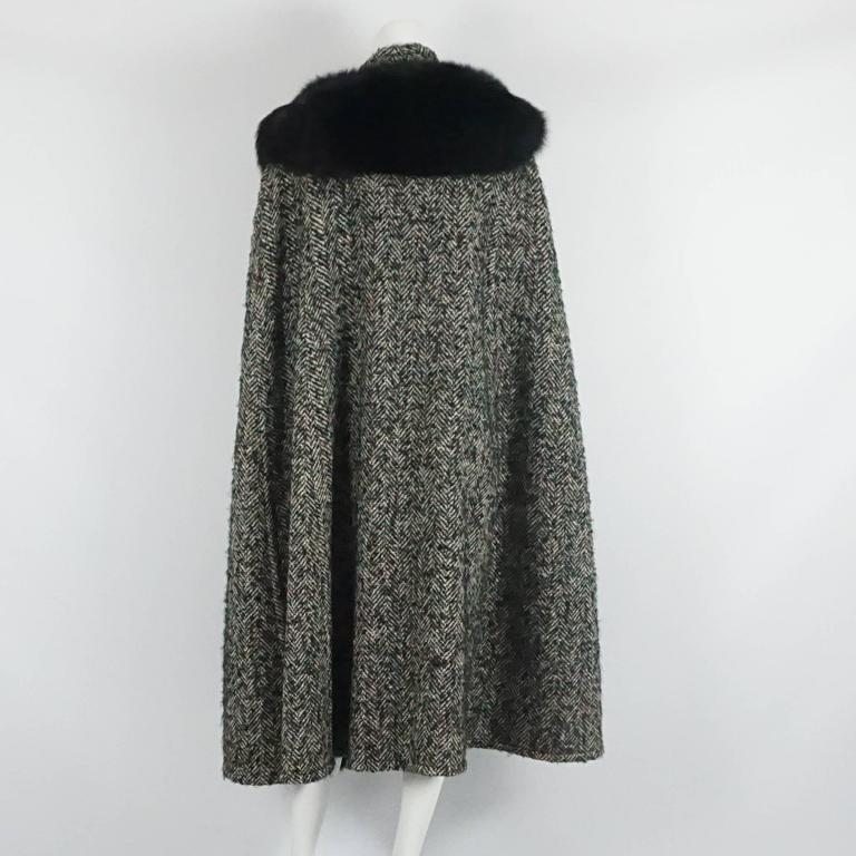 Bob Mackie Grey & White Herringbone Wool Tweed Cape w/ Black Fox Trim-10 3