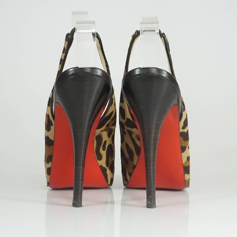 Christian Louboutin Animal Print Pony Hair Peeptoe Slingback - 42 In Excellent Condition For Sale In Palm Beach, FL