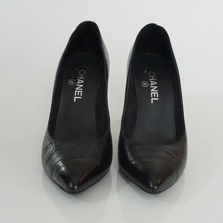Chanel Black Leather and Patent Pump w/ Rope Knot Heel - 40.5 3