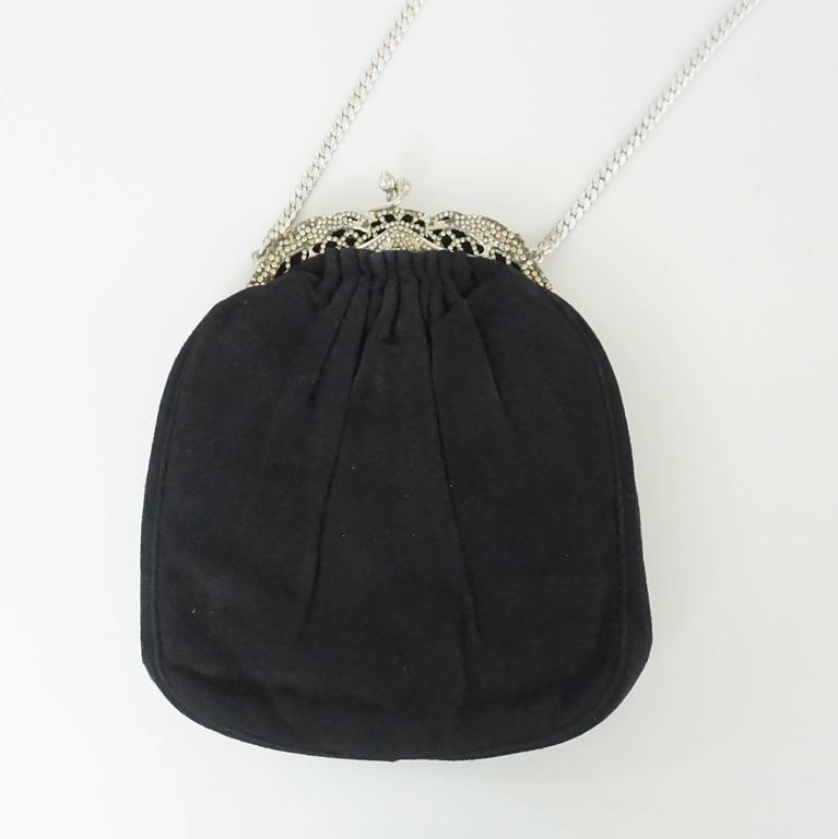 Judith Leiber Black Suede Rhinestone Evening Bag  For Sale 1