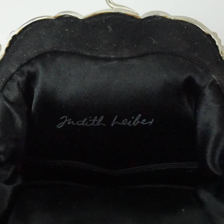Judith Leiber Black Suede Rhinestone Evening Bag  For Sale 3