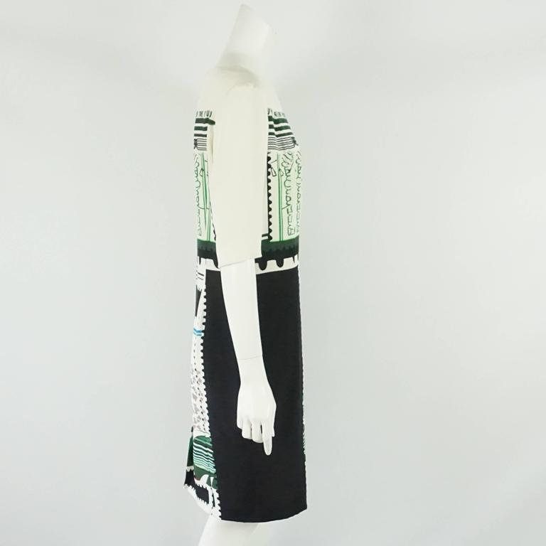 Mary Katrantzou Black and White Silk Printed Shift Dress - 14 2