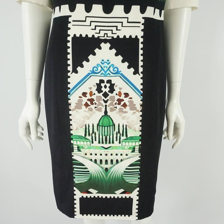 Women's Mary Katrantzou Black and White Silk Printed Shift Dress - 14 For Sale