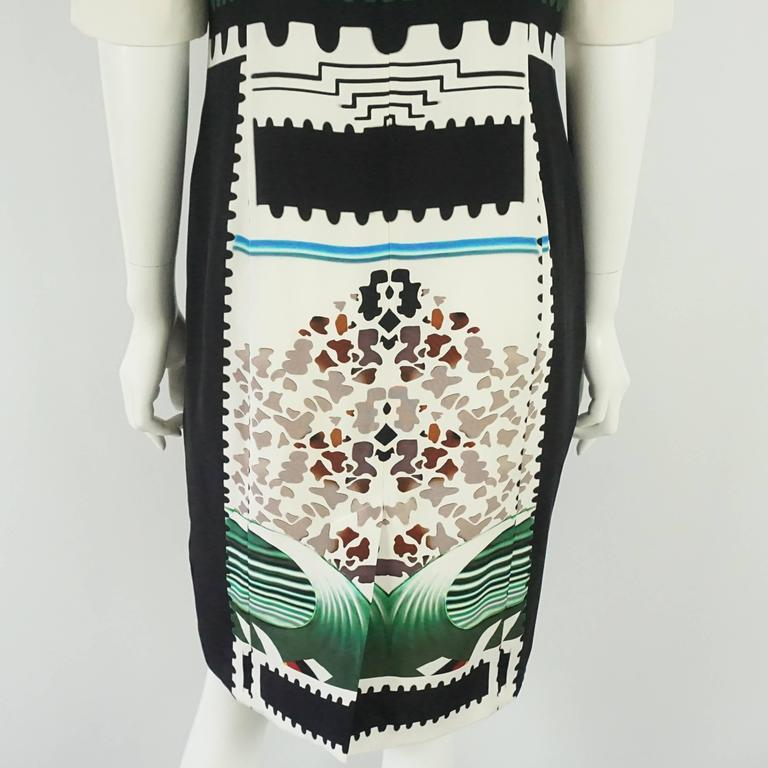 Mary Katrantzou Black and White Silk Printed Shift Dress - 14 For Sale 1