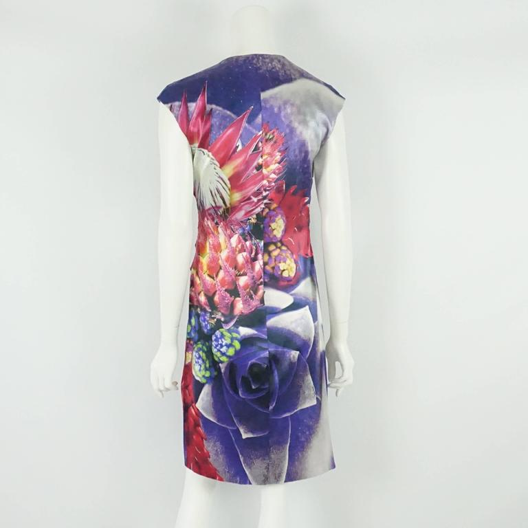 Roberto Cavalli Purple Printed Silk Ruched Dress - 44 3