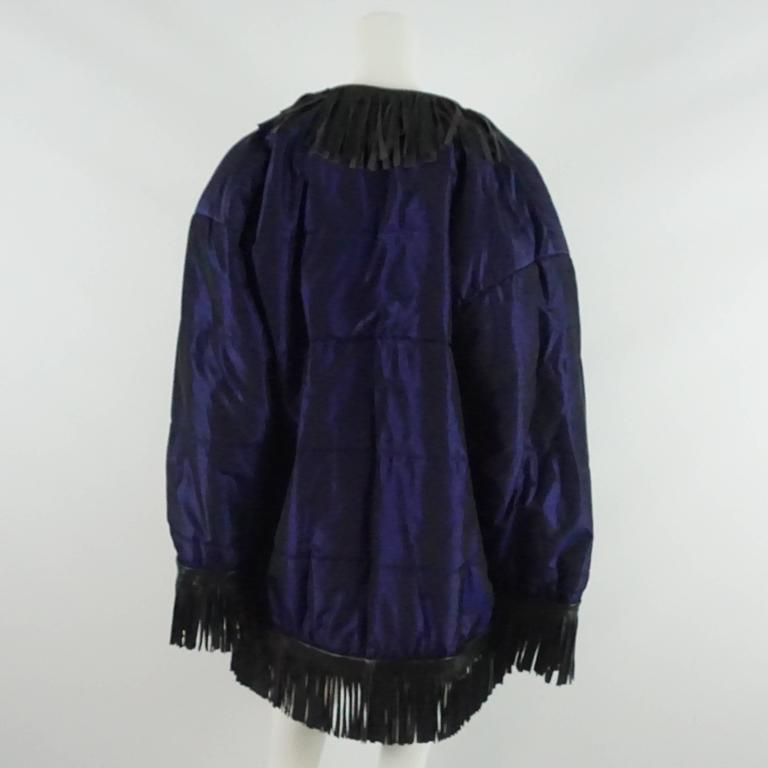 YSL Blue Puffer Coat with Black Fringe Trim - 40 - 1980's In Excellent Condition For Sale In Palm Beach, FL