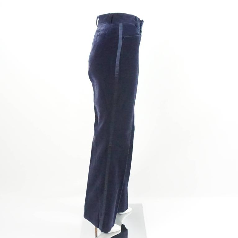 Gucci Navy Velvet High Waisted Pants with Silk Sides - 42 - 1990's  2