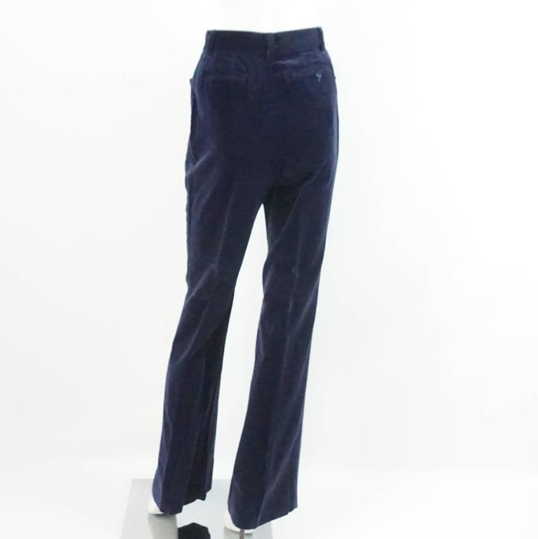 Gucci Navy Velvet High Waisted Pants with Silk Sides - 42 - 1990's  3