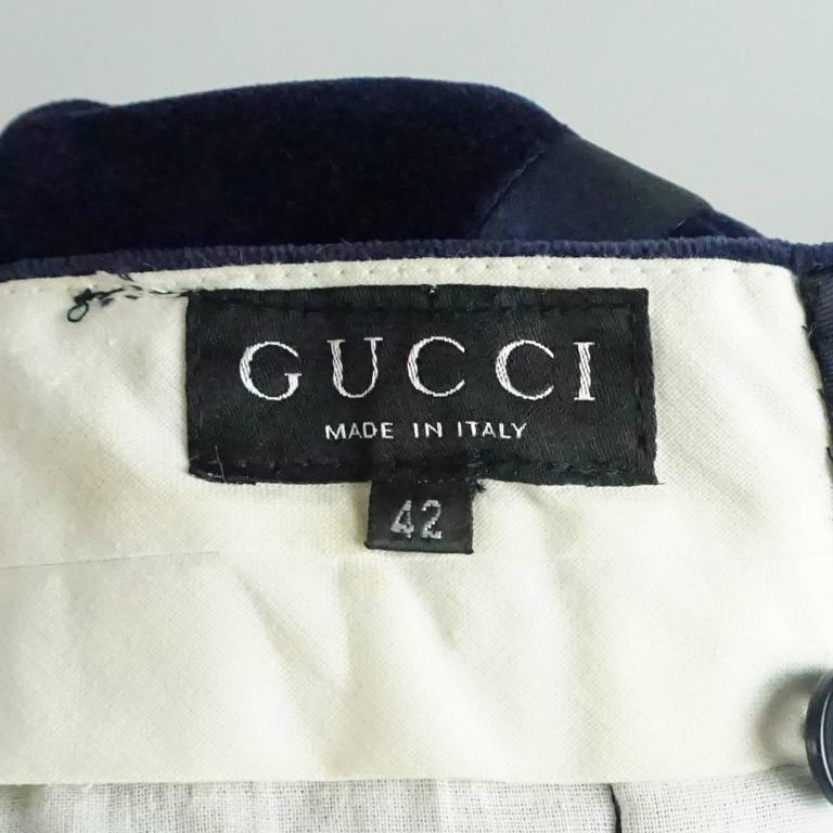 Gucci Navy Velvet High Waisted Pants with Silk Sides - 42 - 1990's  4