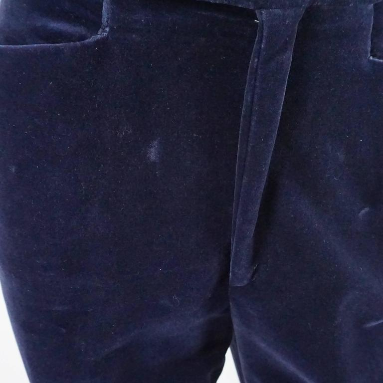 Gucci Navy Velvet High Waisted Pants with Silk Sides - 42 - 1990's  5