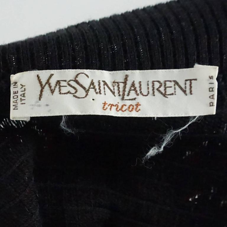 Women's YSL Black Sequin and Wool Tank Top - M - 1980's  For Sale