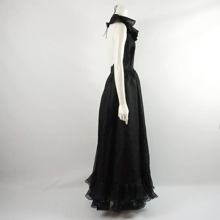 Oscar de la Renta Black Linen Halter Gown with Ruffles - 10 - 1990's  2