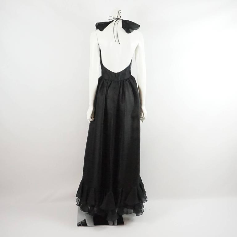 Oscar de la Renta Black Linen Halter Gown with Ruffles - 10 - 1990's  3