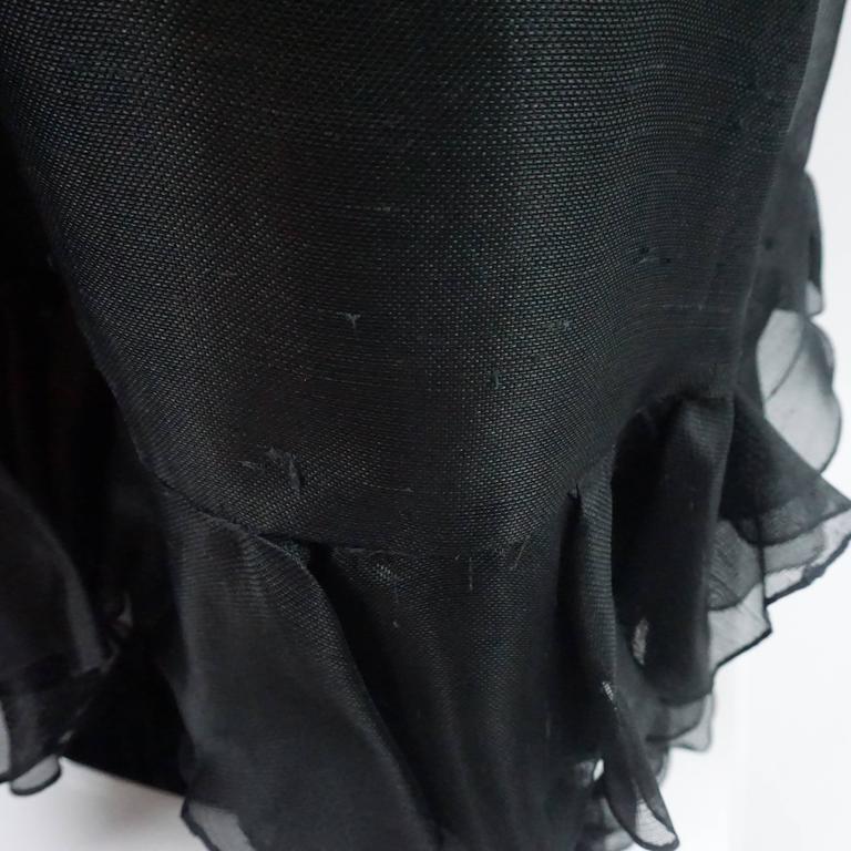 Oscar de la Renta Black Linen Halter Gown with Ruffles - 10 - 1990's  5