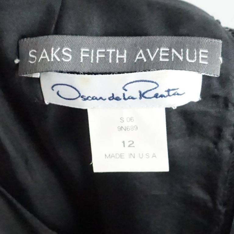 Oscar de la Renta Black Silk Sleeveless Dress with White Detail - 12 4