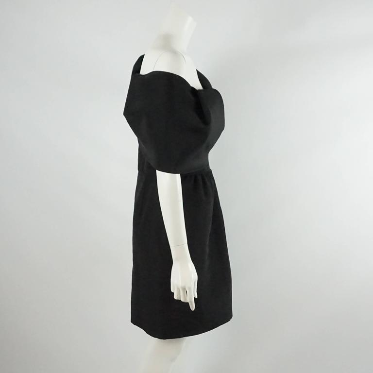 Oscar de la Renta Black Silk Taffeta One Shoulder Dress - 10 2