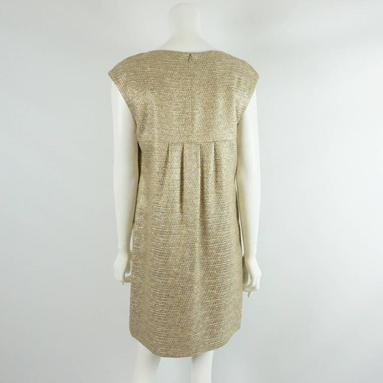 Michael Kors Gold Metallic Shift Dress with Pockets - 10 3