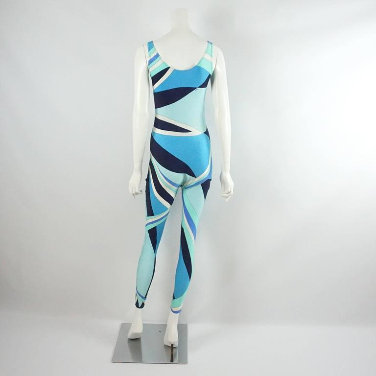 Emilio Pucci Blue Printed Sleeveless Jumpsuit - L - 1970's  In Good Condition For Sale In Palm Beach, FL