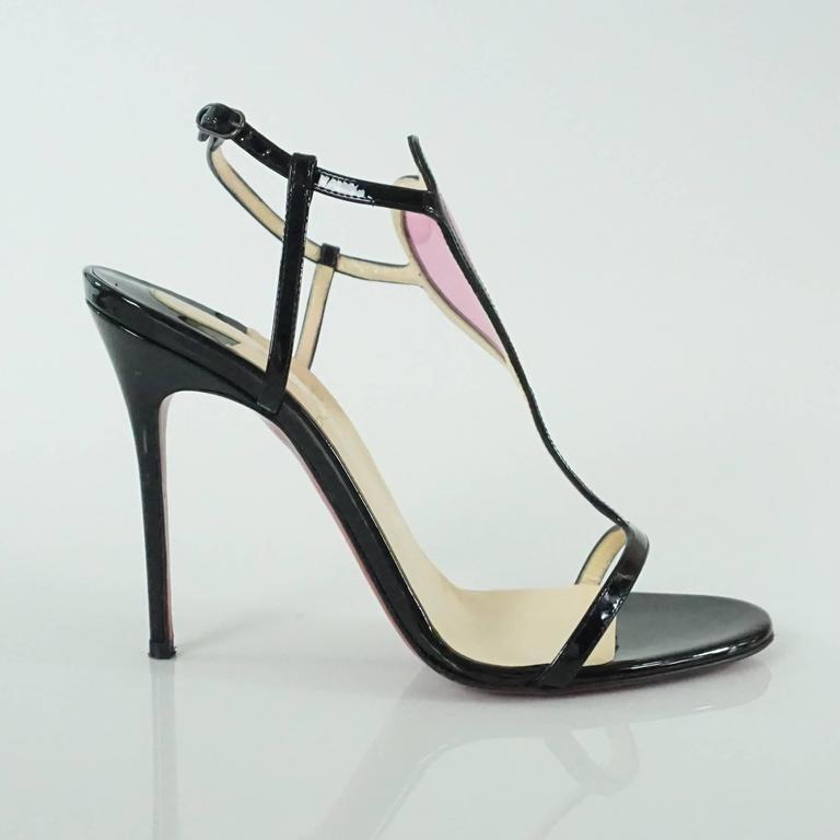 42af20d7dff Christian Louboutin Black and Pink PVC Cora Heart Heels - 37