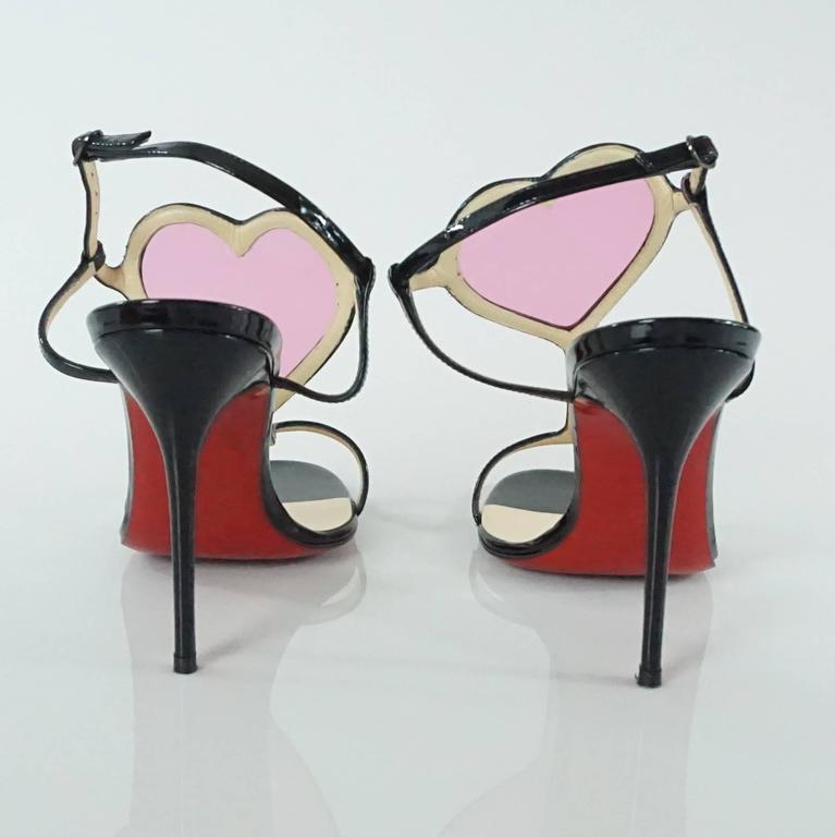 98cc008e37c8 Women s Christian Louboutin Black and Pink PVC Cora Heart Heels - 37 For  Sale