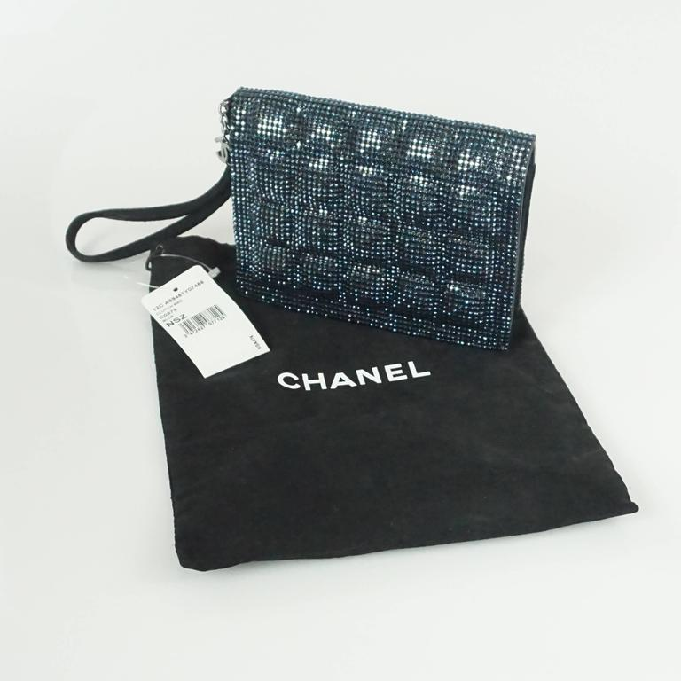 Chanel Blue Rhinestone Quilted Wristlet and Clutch - 12C - NWT For Sale 3