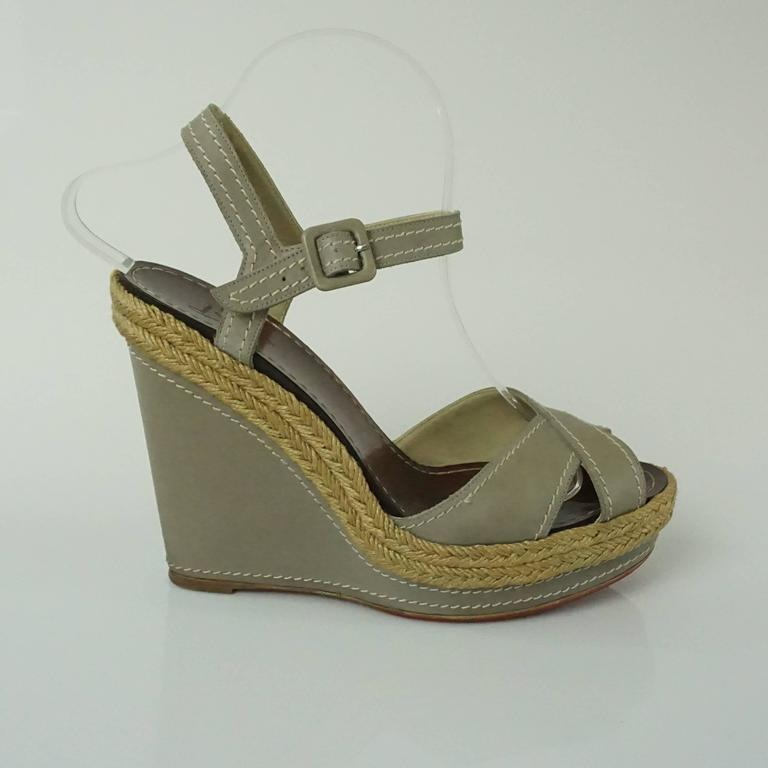 big sale e61b8 e6b01 Christian Louboutin Taupe Leather Wedges with Ankle Strap - 40