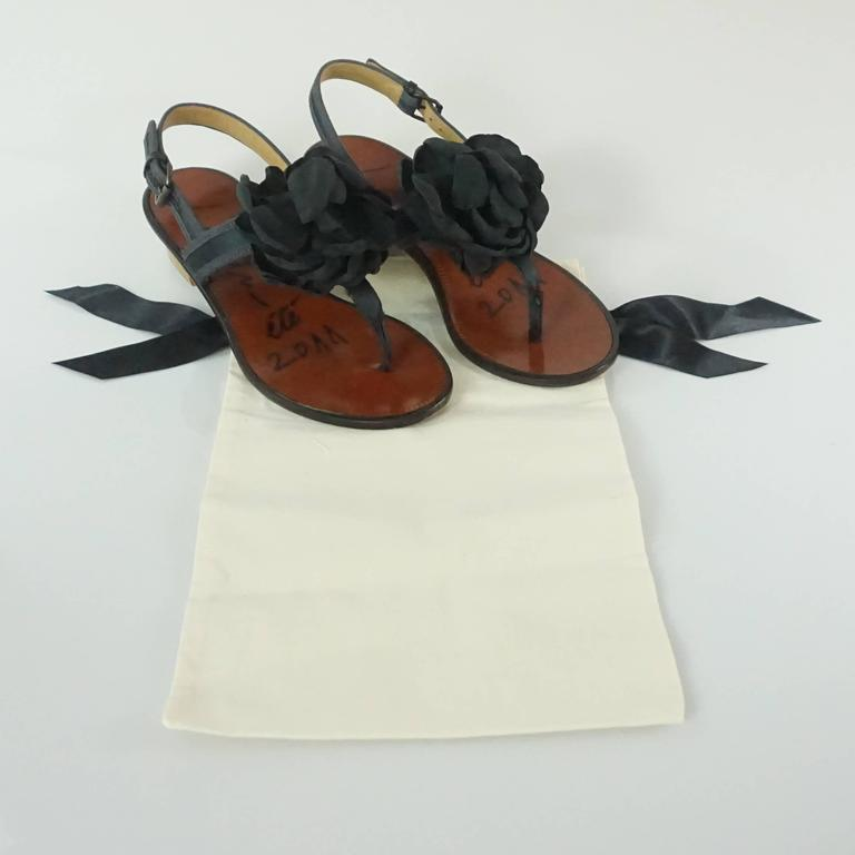 Lanvin Black Satin Sandals with Camellia - 37 For Sale 3