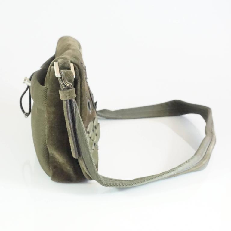 Gray Prada Olive Suede Fall Leaves Shoulder Bag  For Sale
